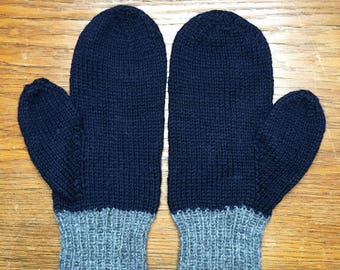 Blue with grey hand vintage mittens