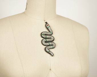 Rhinestone Snake Patch / Black Backing Crystal Body and Green Beads / Red Eye with Tongue Sticking Out