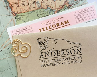Custom Address Stamp - English Bulldog Return Address Stamp, Holiday Gift, Stocking Stuffer, Wedding Gift, Self Inking Rubber Stamp