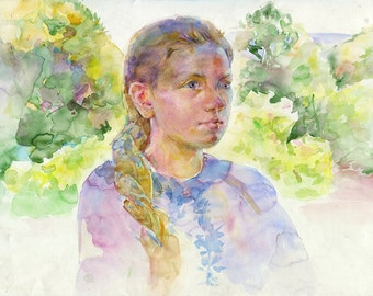Young girl watercolor painting- Original painting - girl model, watercolour on paper
