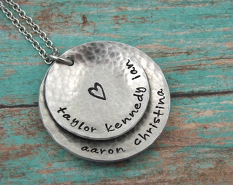 Personalized Necklace - Mom Jewelry - Custom Name Necklace - Hand Stamped - Grandma Necklace