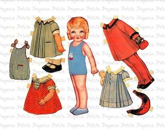 Vintage Paper Doll Digital Download Collage Sheet H