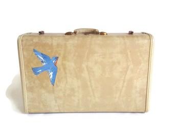Vintage Samsonite White Marbled Suitcase -  50s Hardside Luggage - Retro Travel - Bluebird Decoupage Shabby Cottage Chic Cabin Decor