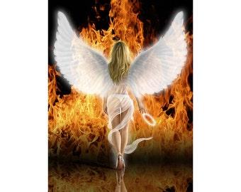 Fallen Angel. Original digital artwork fine art print of a sexy female angel embracing her naughty side
