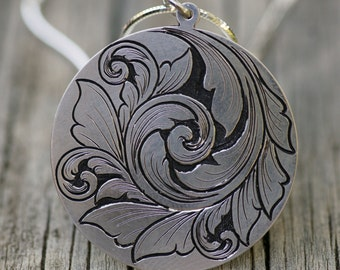 Sterling Silver scroll pendant, Hand Engraved