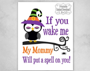 Printable Halloween Owl Witch Spell on You Fun Scary Nursery Wall Art Door Sign Decor Baby Child Kids ~ DIY Instant Download ~ 1 8x10 Print