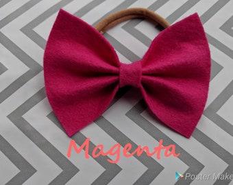 Magenta pink felt bow
