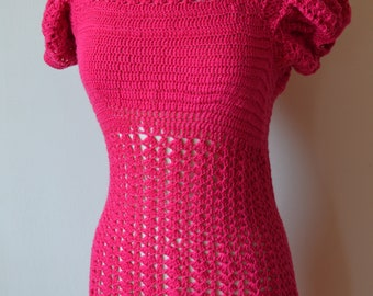 1930's Style Hot Pink Crochet Dress