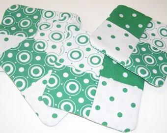 Coaster Set Green and White Polka Dots