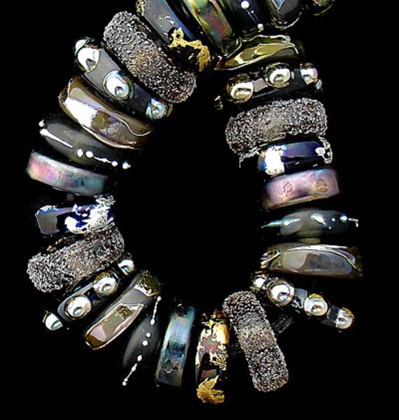 Lampwork Beads Glass Beads Steampunk Jewelry Making Craft Supplies For Jewelry Supplies Boho Bracelet Black Beads Disc Beads Debbie Sanders