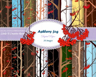 Woodland DIGITAL PAPER PACK with Winter Rowan-trees, Woods Background, Rowanberry paper set digital art Ashberry backdrop instant download.