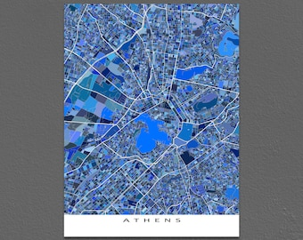 Athens Map Art Print, Athens Greece, Acropolis, Europe City Maps