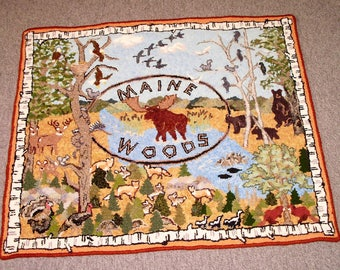 Maine Woods Hooked Rug