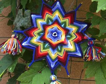 Mexican Dancer- 12 pointed star mandala (god's eye / ojo de dios)  - 10 inch/25 cm
