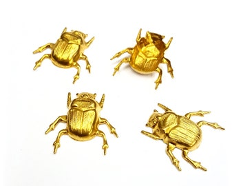 1 Piece Scarab Beetle Findings, Stamped Raw Brass, Hollow Back, Vintage, 23x24mm