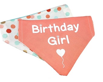 Birthday Girl reversible dog bandana|Gifts for dogs and dog lovers|Confetti polka dots|Coral|Glitter heart balloon