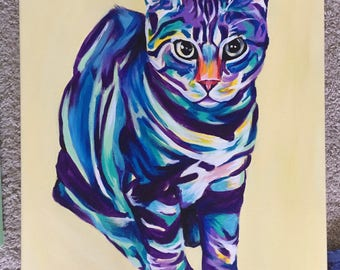 Colorful Cat Painting - Single Cat