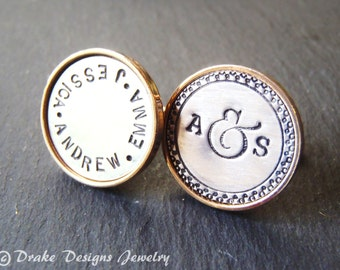 Personalized mens jewelry Father's Day gift for husband Custom name personalized cufflinks