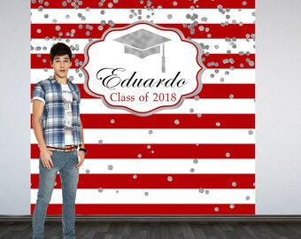 Graduation Personalized Photo Backdrop, Red and White Stripes Photo Backdrop, Class of 2018 Photo Backdrop, Photo Booth Backdrop, Congrats