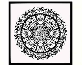 Flower Mandala, Geometric Shape, Boho Wall Art, Sacred Geometry Decor, Interior Design, Digital Download