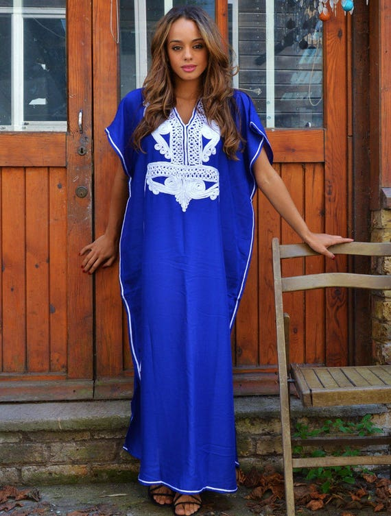 Blue with White Marrakech Resort Caftan Kaftan -beach cover ups, resortwear,maxi, birthdays, honeymoon,maternity gifts, maxi dress, moroccan