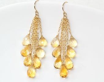 Citrine dangle earrings - Tassel chain Citrine earrings in 14k Gold filled, Yellow gemstone earrings, November Birthstone jewelry