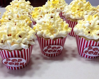 Cupcake Wrappers, Popcorn Themed Cupcake Wrappers set of 12, Circus Birthday, Big Top Bash, Carnival Event, Popcorn Box