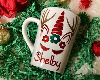 Unicorn Mug, Reindeer Unicorn, Mug for Cocoa, Family gift,  gift for her, Personalized Gift