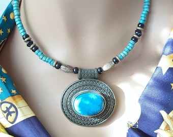 Tribal Necklace with Faux Turquoise & Old Brass Chain Nomadic Style Ethno Fashion Jewelry
