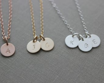Mini Personalized Initial Necklace - 14k rose gold fill, 14k gold fill or 925 sterling silver - Simple Monogram Single Charm - Gift for her