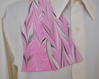 Marbled Men's Bow Tie Self Tie Reversible Pink Black Feather Design MM-#14-2