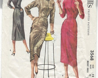 1950s McCall's Sewing Pattern 3568, Slim Fitted Dress, Misses Size 12, Bust 30