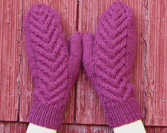 knit wool mittens with cables, knitted cabled mittens, girls mittens womans mittens wool handknit mittens hand warmers made in usa /Ready