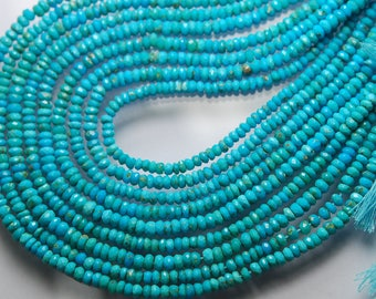 13.5'' Strand, Super Great Quality, Blue Natural Arizona Sleeping Beauty Turquoise Rondelles, 3mm