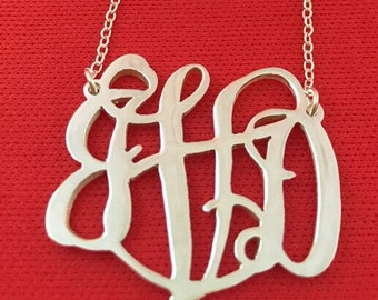 Monogram necklace 925 sterling silver hand stamped ring personalized jewelry monogram jewelry