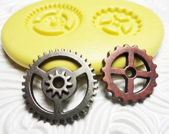 STEAMPUNK GEARS DUO Flexible Silicone Push Mold for Resin Wax Fondant Clay Fimo Ice