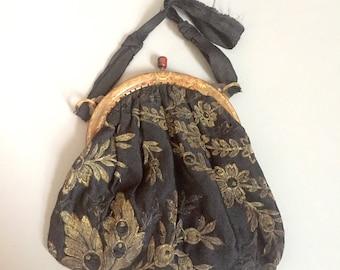 Edwardian evening bag / edwardian lamé purse