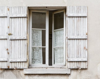 Paris Photograph - Shutters and Lace in Paris Window,  Parisian Architecture, Neutral French Home Decor, Large Wall Art