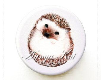 Hedgehog - Woodland Animals - Hedgehog Painting - Animal Illistration - Makeup Mirror