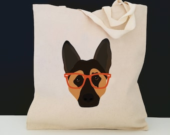 Personalized German Shepherd Tote Bag (FREE SHIPPING), 100% Cotton Canvas Dog Tote Bag, Custom Dog Tote,German Shepherd Bag,German Shepherd