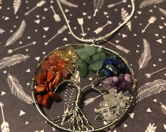Tree of life wire and bead pendant necklace