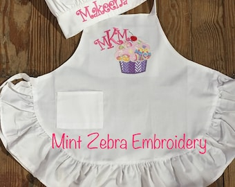 Kids Apron and Chef Hat Personalized Apron Monogrammed Chef Hat Kids Cupcake Apron