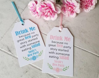 Funny Personalised Hen Party Drink Tags - Pack of 10 tags