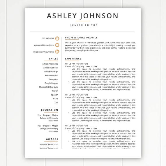 One Page Resume Template Free Download: Resume Template Modern Resume Resumes Free Resume Template