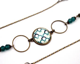"Bohemian headband ""scales emerald green and white""-headband retro vintage glass brass bronze"