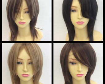 100% human hair wig in black brown highlighted blonde mix and natural brown