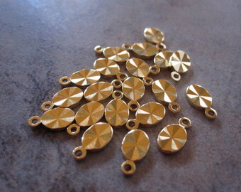 20 Drops, gold-plated brass, 8x4mm double-sided diamond-cut oval. JD184
