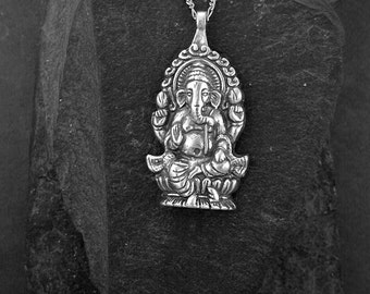 Sterling Silver Ganesh Elephant God Pendant on a Sterling Silver Chain