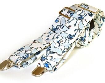 """Men's suspenders """"Un drôle d'oiseau"""",men's braces,men's straps,clip suspenders,large suspenders,dandy,retro,vintage,wedding"""