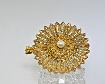 14k Gold And Pearl Vintage Pin